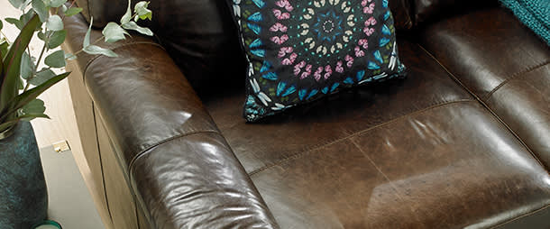 Waxed brown leather sofa