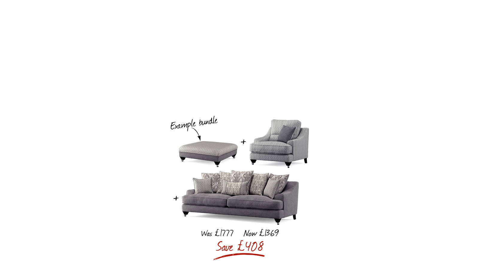 Example of outlet bundle made up of sofa, chair and footstool