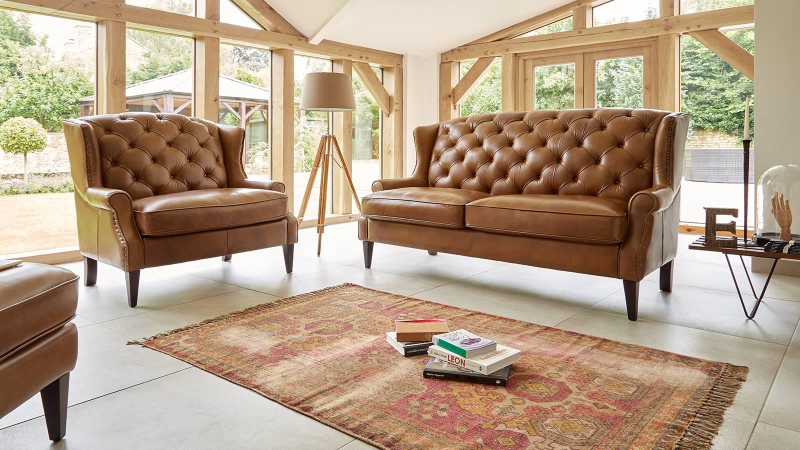 Sofology Franklin vintage brown leather sofas