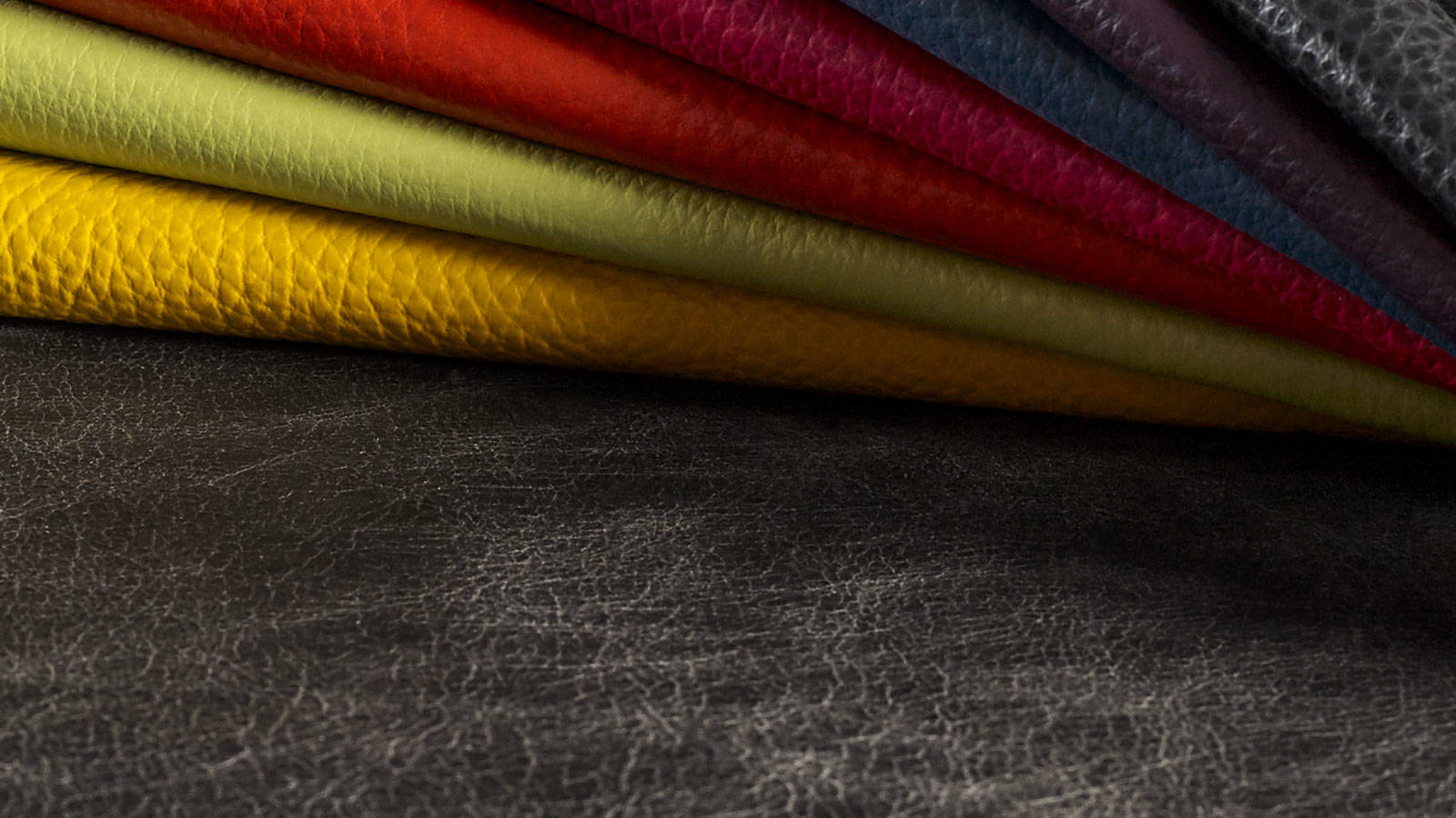 Selection of real natural leather colours
