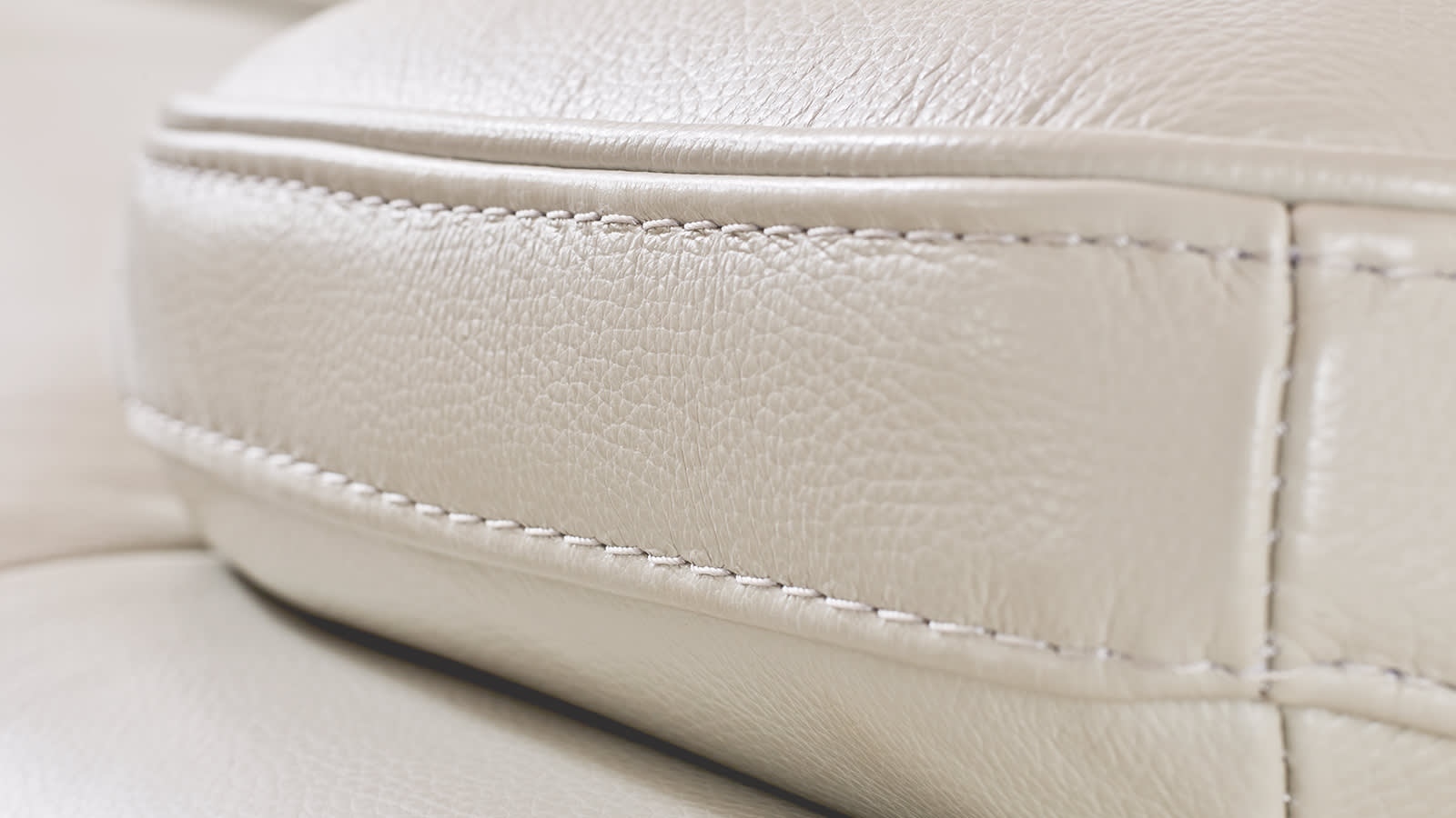 White leather sofa stiching