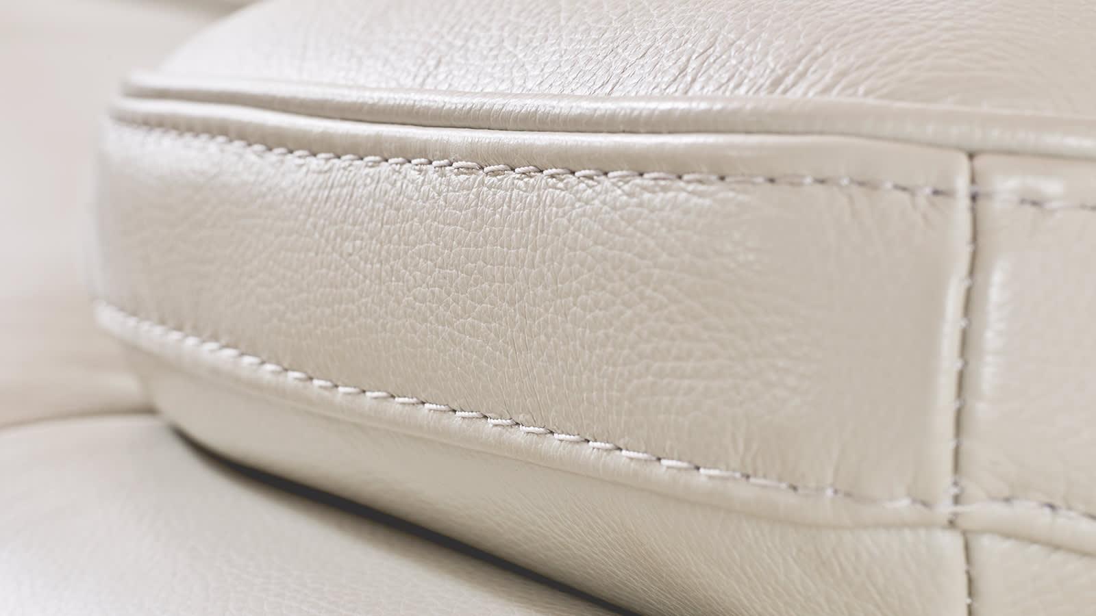 White leather sofa stiching