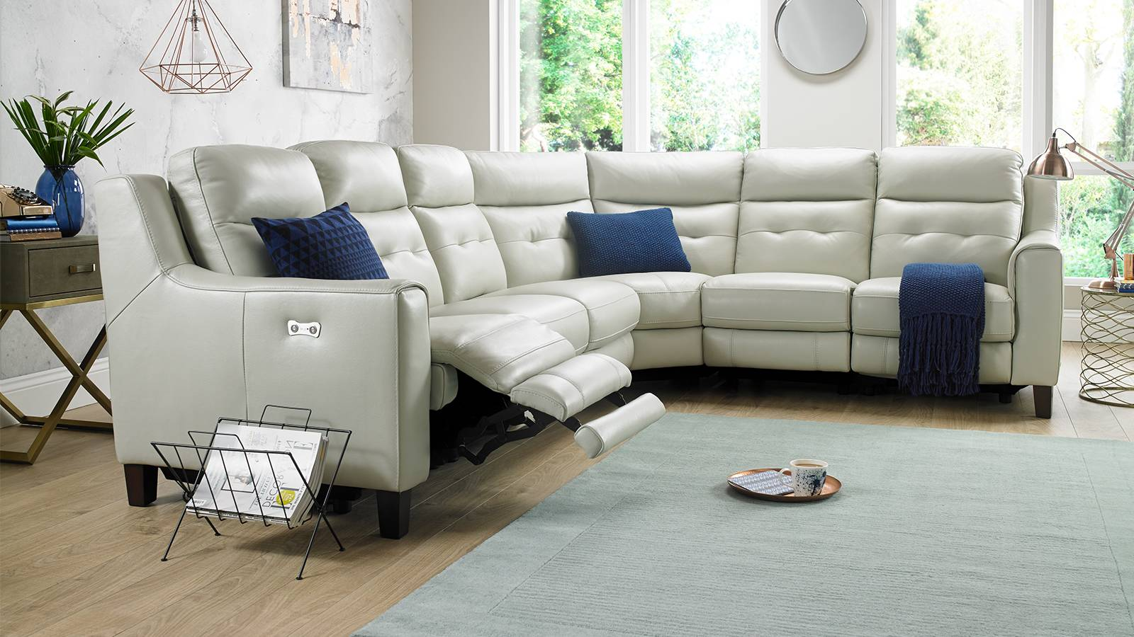 White leather recliner corner sofa