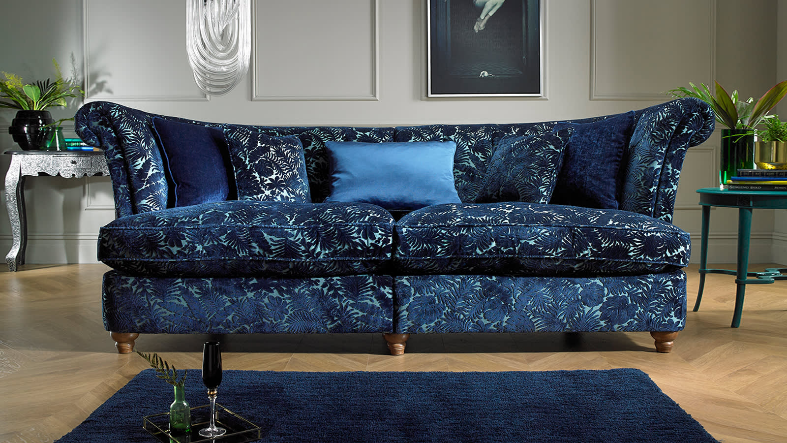 Blue Etienne fabric sofa