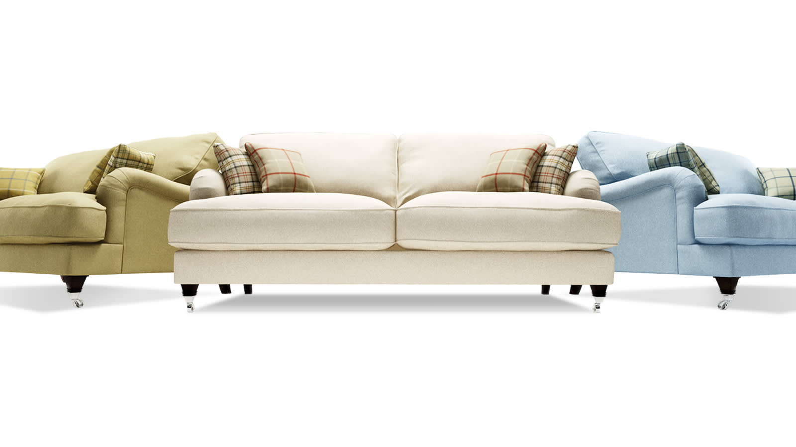 Green, white and blue fabric three seater sofas