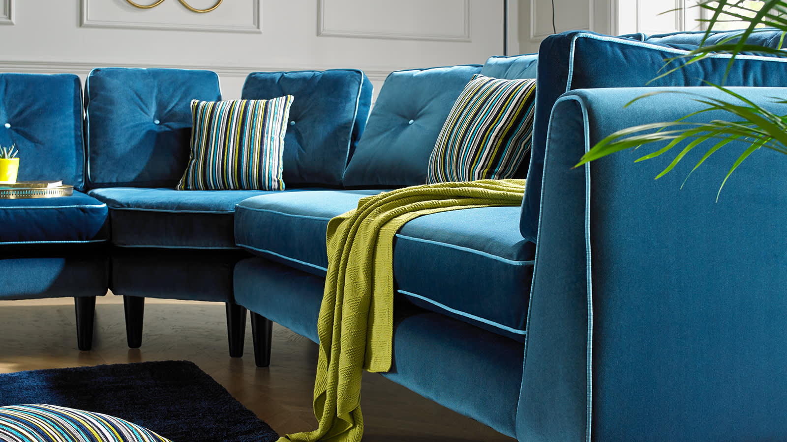 Blue Cricketer fabric sofa