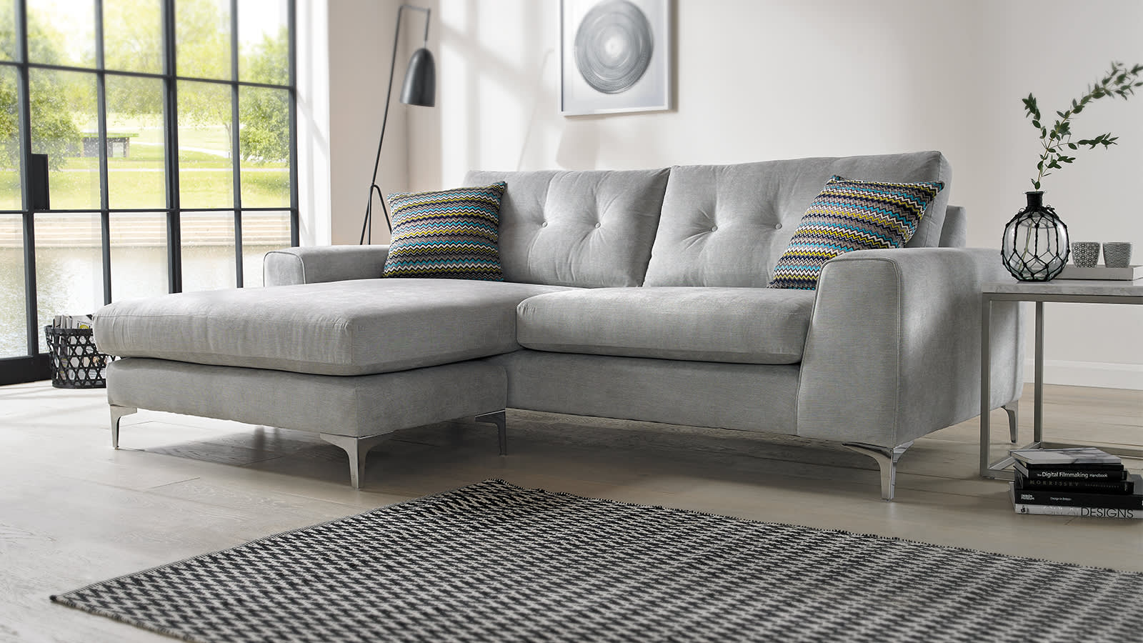 Grey fabric chaise sofa