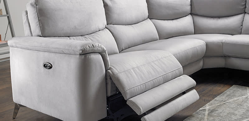 Sofa with power recliner controls