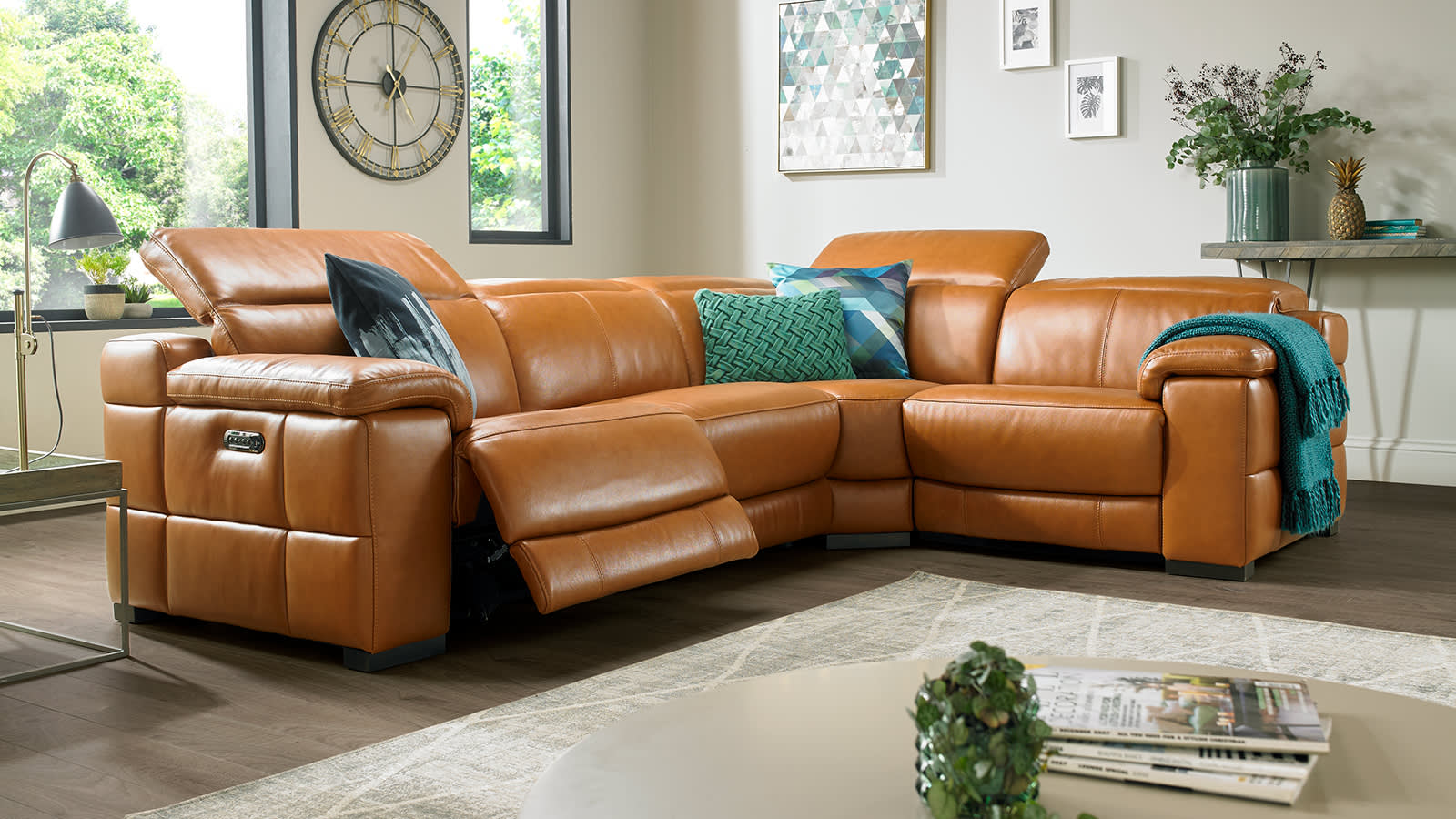 Sofology Laurence brown leather recliner sofa