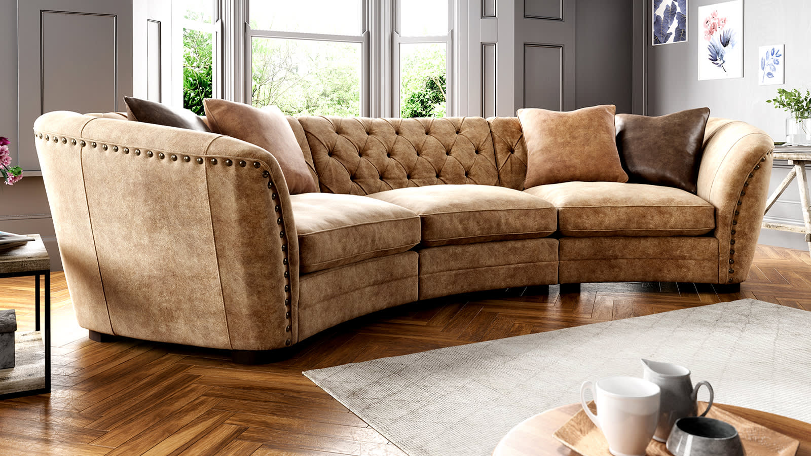 Sofology Bronco brown leather sofa