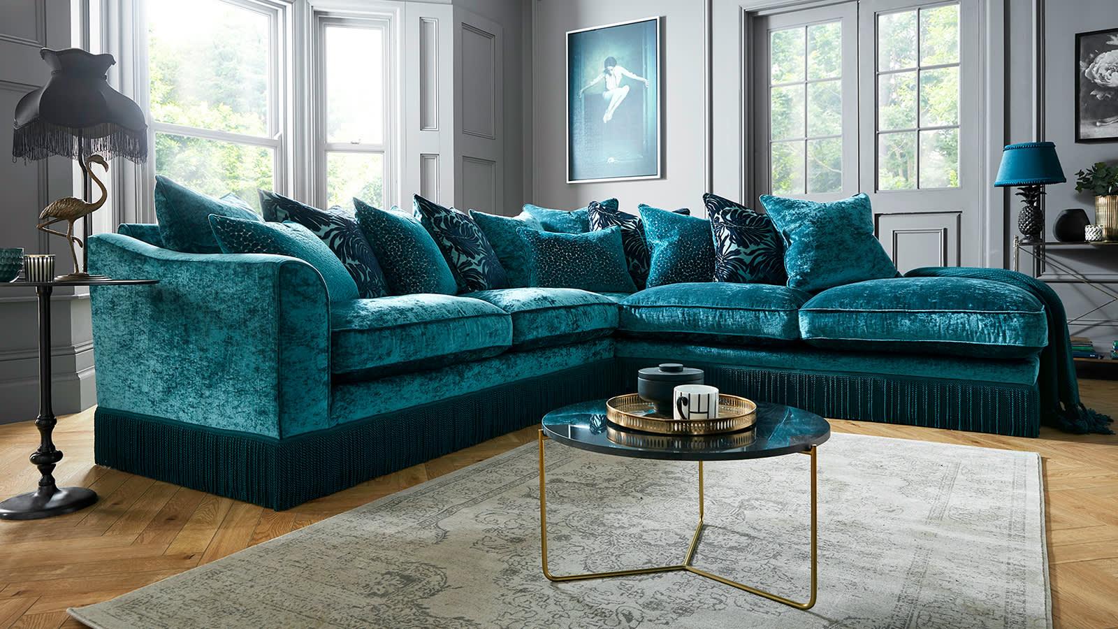 Sofology Vivienne teal fabric sofa