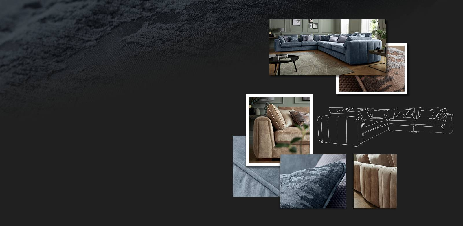 Moodboard images of the Emperor sofa