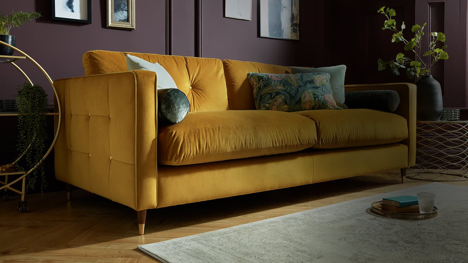 Sofology Clerkenwell yellow fabric sofa