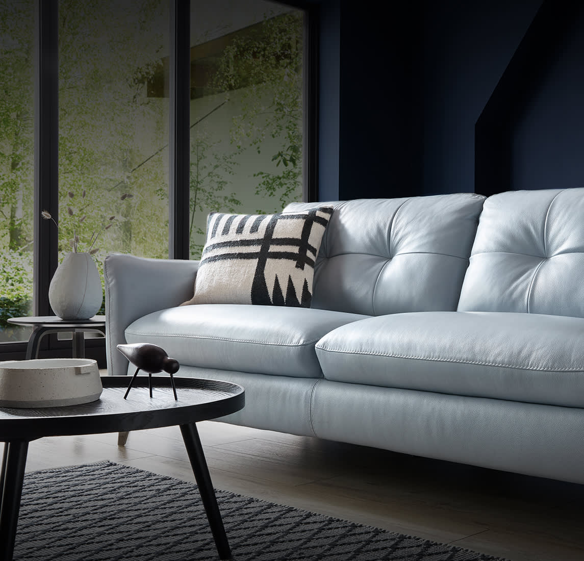 Sofology Mimi blue leather sofa