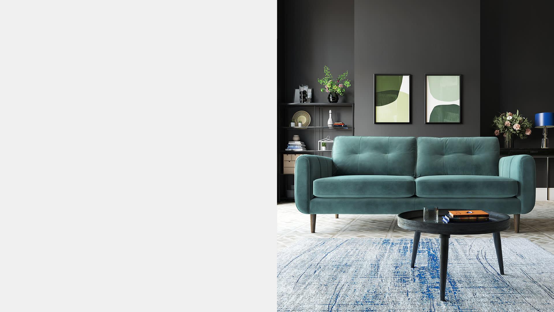 Sofology Pet Friendly Teal Fabric Sofa