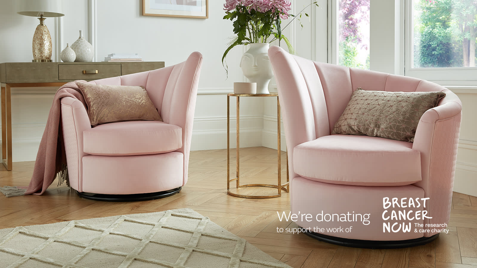 Sofology Pink Lily chair for Breast Cancer Now