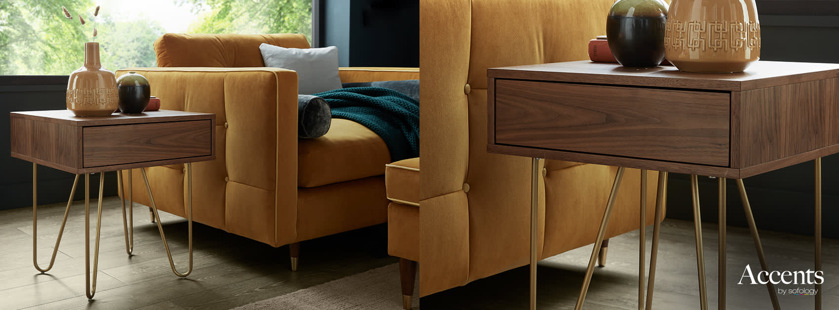 Retro side table with hairpin legs