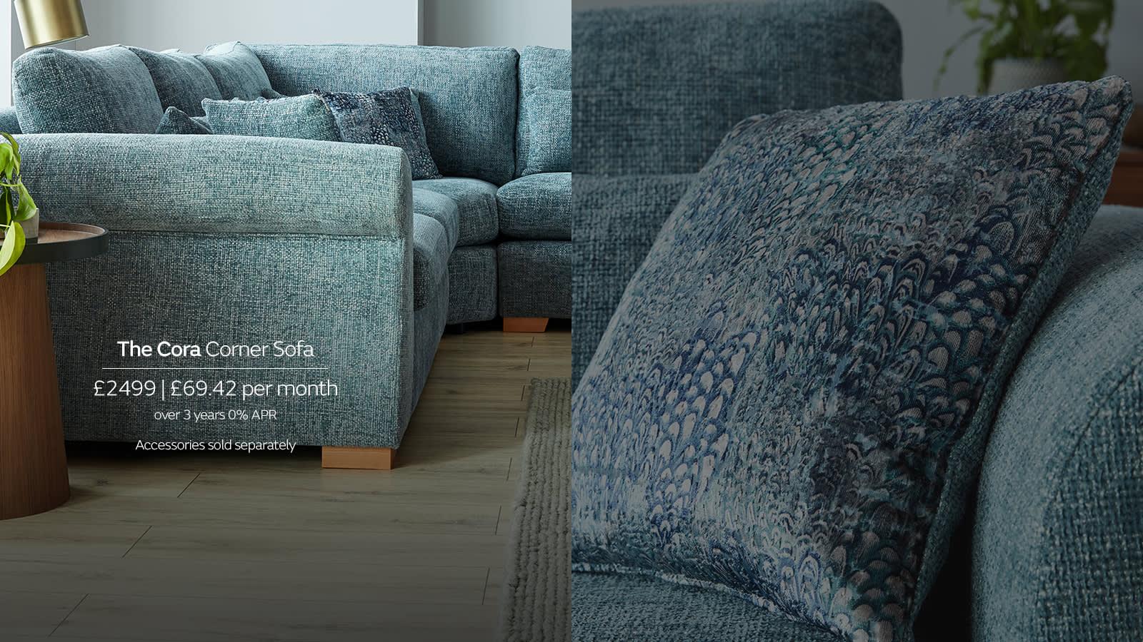 Sofology Cora blue fabric corner sofa