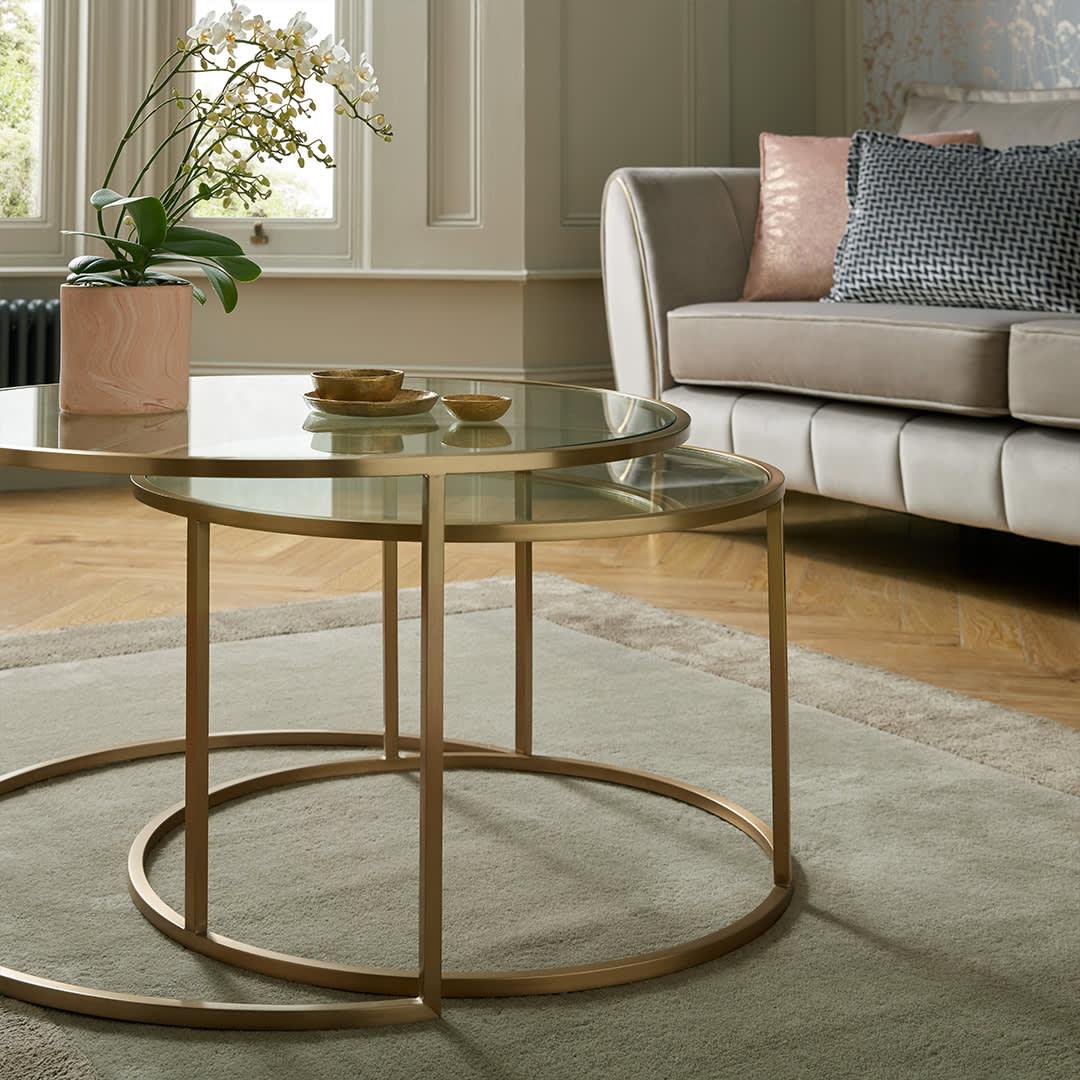 Lydia round glass coffee table set