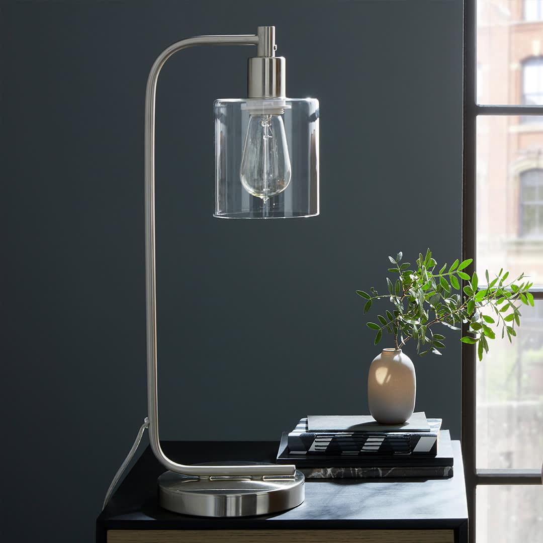 Marino chrome industrial table lamp