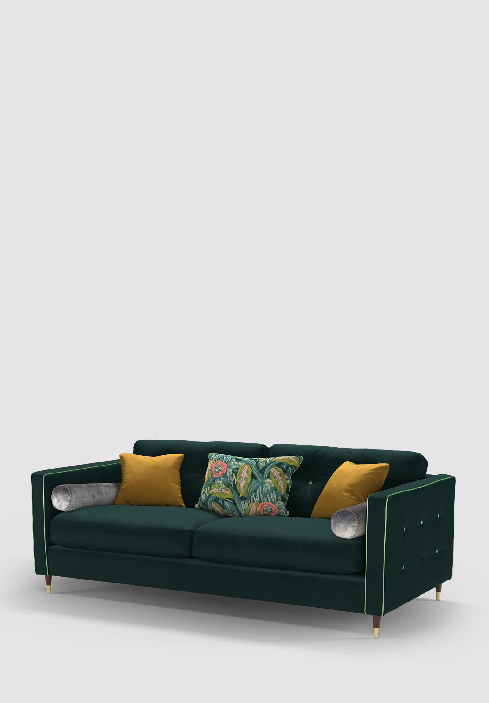 Sofology Bottle green velvet retro Clerkenwell sofa