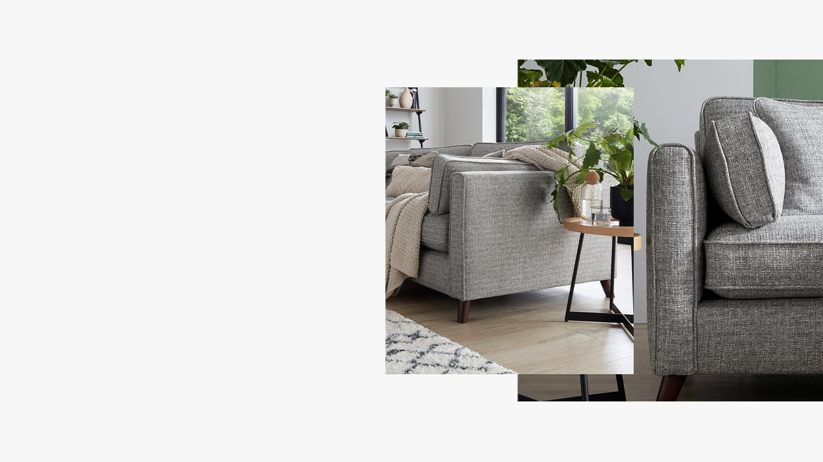 Sofology Castille grey fabric sofa