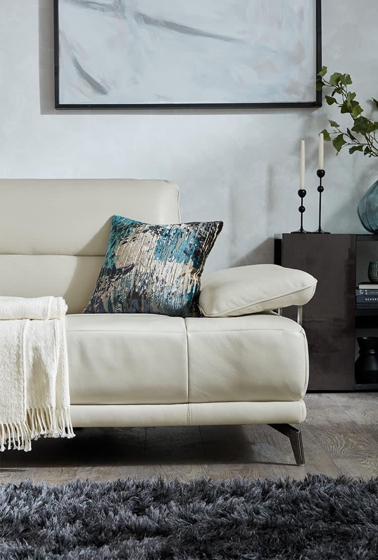 Sofology Artemis cream leather sofa