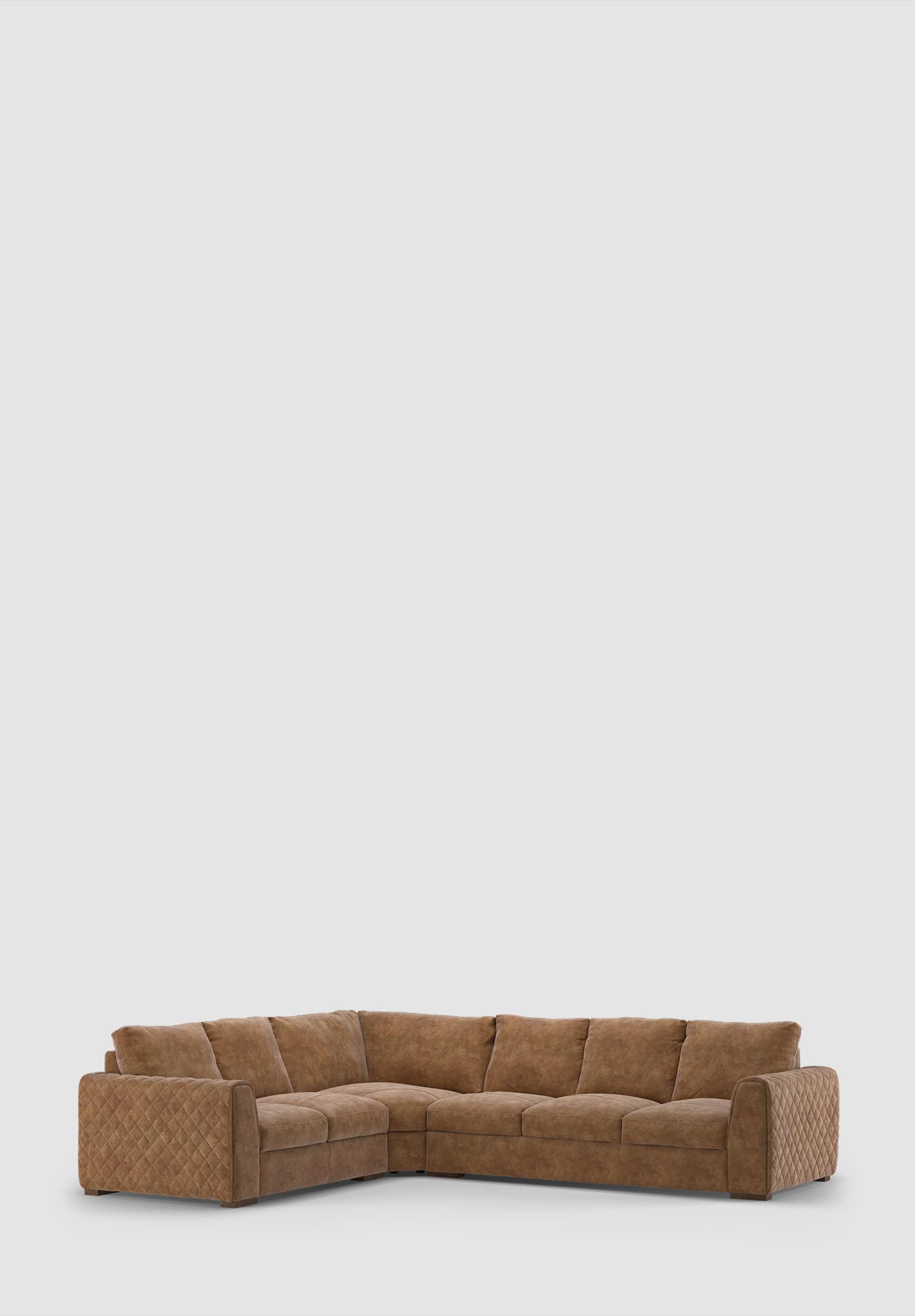 Sofology Mazzini tan leather corner sofa