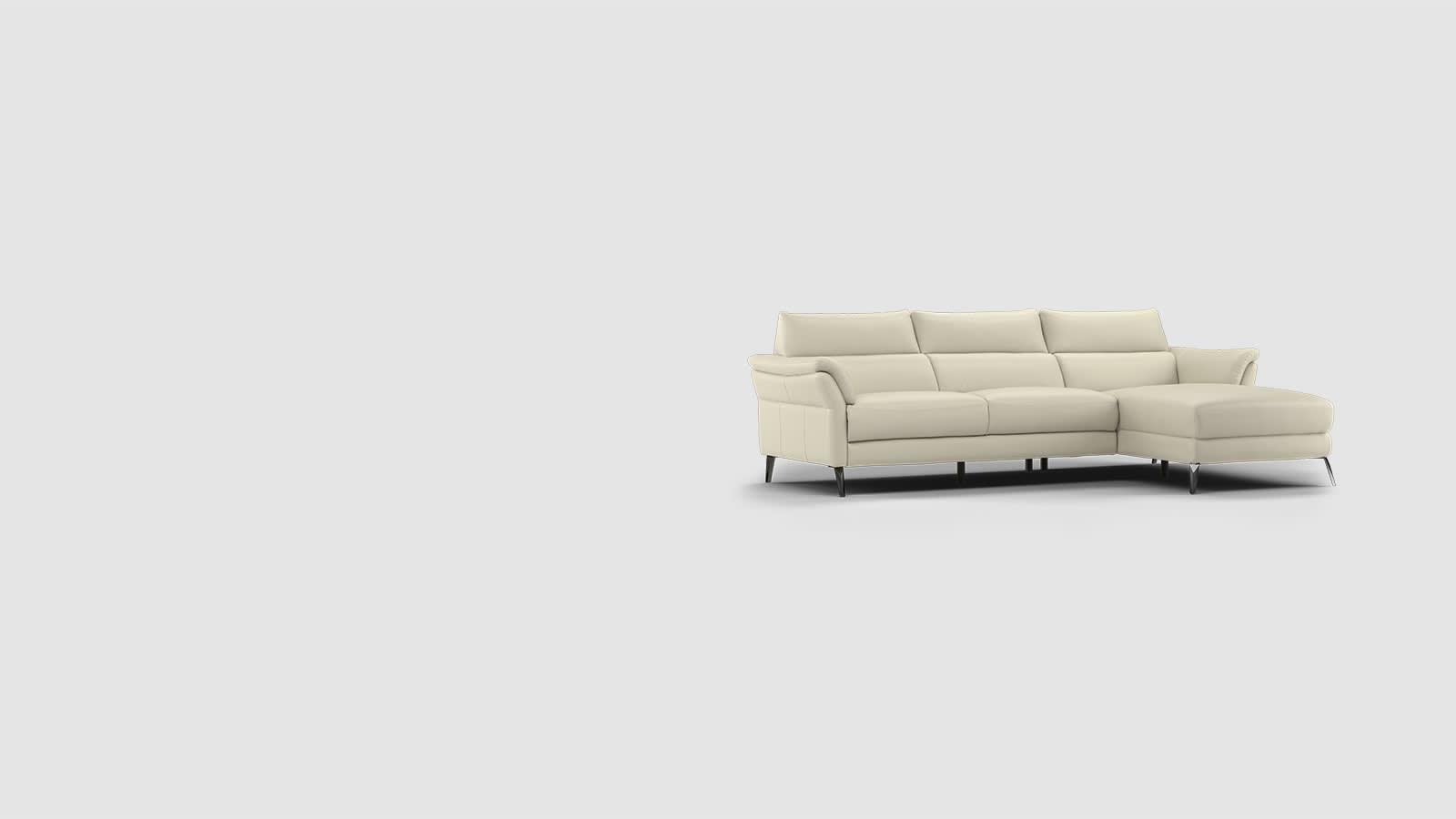 Sofology cream leather Missouri sofa