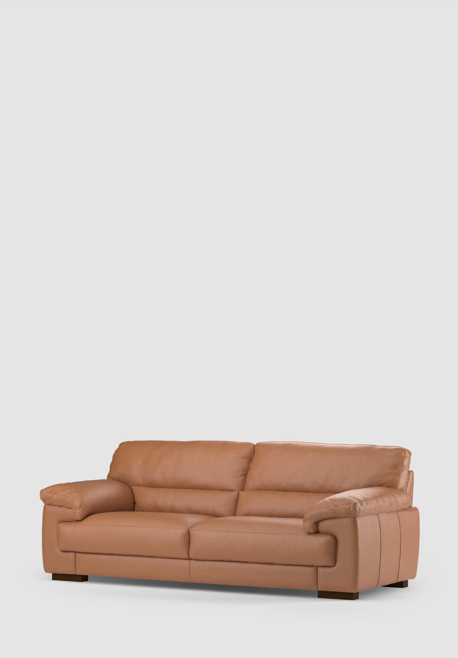 Sofology Santino leather tan sofa