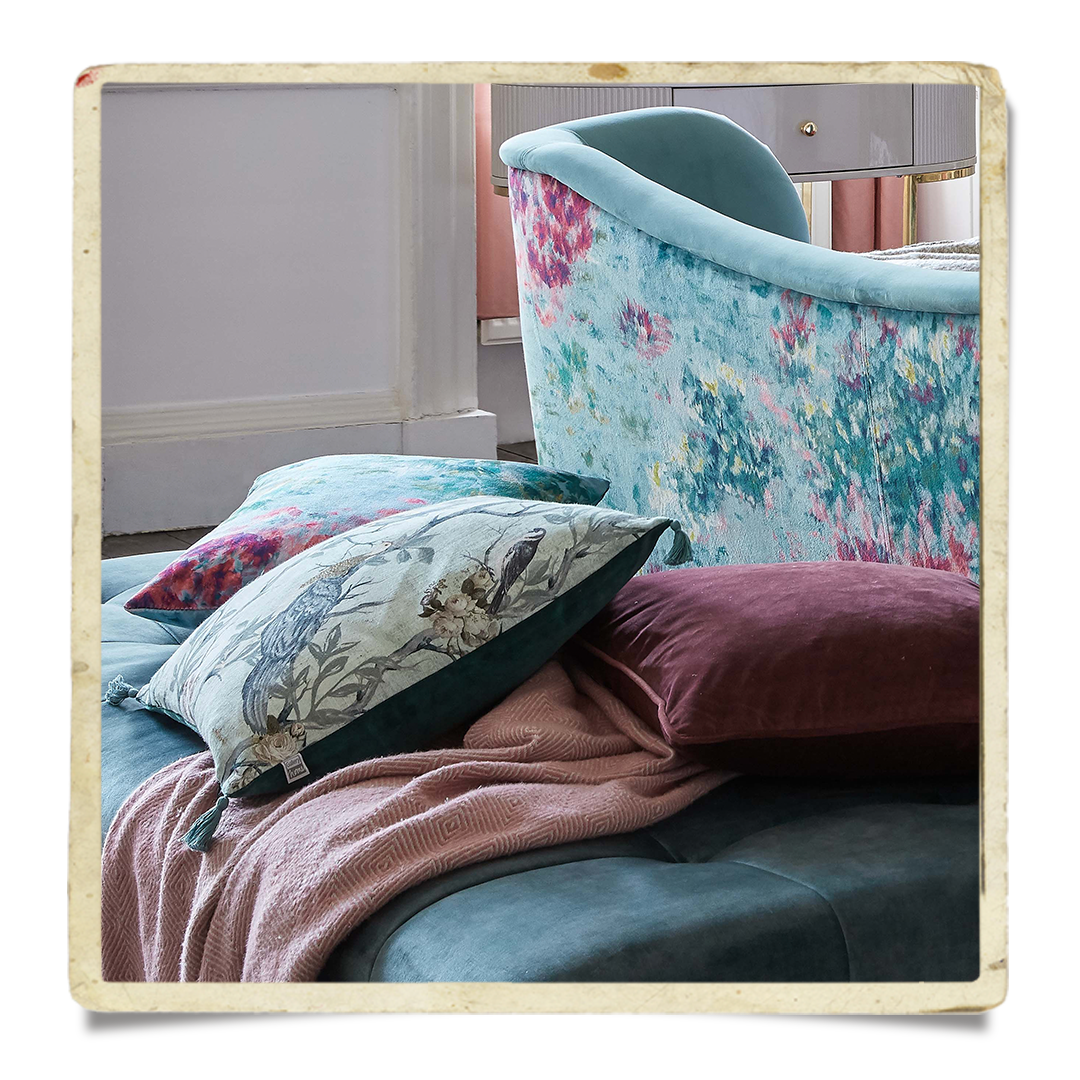 Peacock scatter cushions